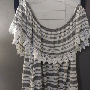 Gray and white striped off-the-shoulder blouse